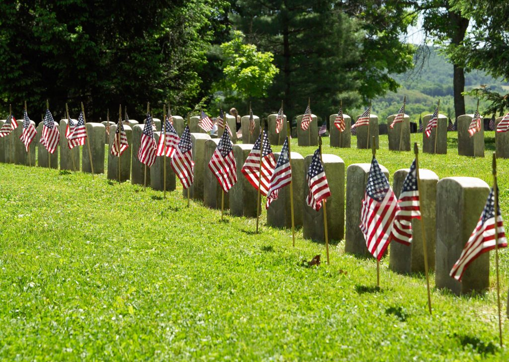 Memorial Day flags at cemetery